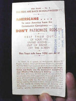 """1950's List of """"REDS"""" in the Entertainment Movie & TV Business Pamphlet $9.99"""