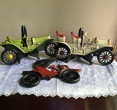 Set Of Three Mid West Cast Metal Antique Cars Wall Decor Perfect Condition