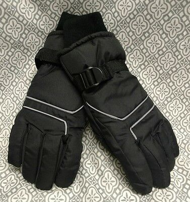 Unisex Children's Youth Size 11-16 Black Snow Ski Winter Gloves Insulated Warm!
