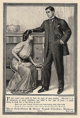 1906 Ad Hart Schaffner Marx Mens Clothes Edwardian Man Lady Fashion Oak Dresser
