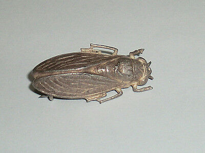 Vintage French Cicada Insect Bug Pin Brooch Silver Brass Very Old Unmarked c1910