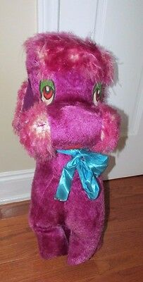 Vintage Plush large purple dog maybe poodle carnival toy prize 2 ft tall