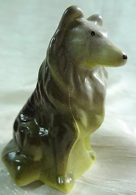 Sitting Collie Air Brushed Sycamore & Kelp Solid Glass Mosser Sheltie Dog