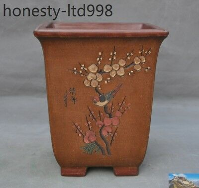 Chinese Yixing Zisha Pottery Magpie Plum flower Bonsai potted plants flower pot