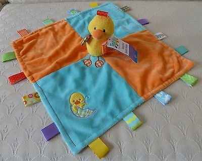 NWT TAGGIES Dipsey Duck Security Blanket Lovey Blanky Fleece+Satin Appliqued HTF