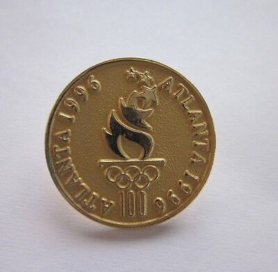 Gold Color Olympic Pin 7/8 inch 1996 Atlanta GA Summer Olympics Official Case
