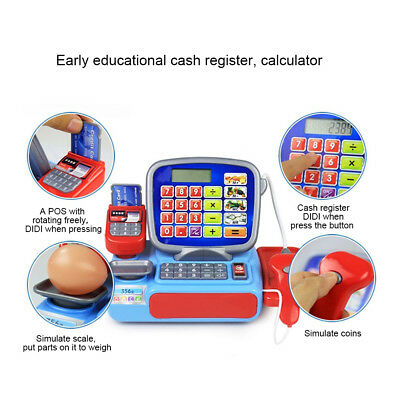 Cash Register with Scanner Weighing Scale Electronic Toy Play Pretend Kids Gift