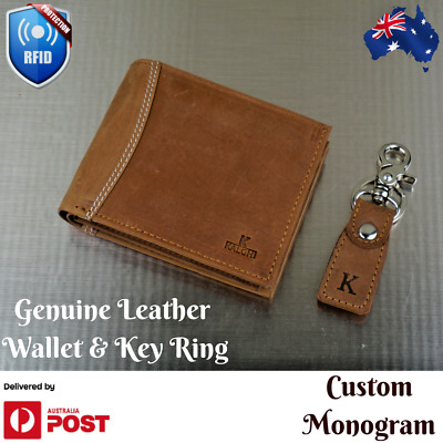 Personalised RFID safe Leather Wallet, Custom Monogram, Men's Wallet gift AU