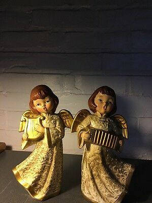 Vintage Christmas Angels Dickson Made In Japan One With Accordian One With Harp
