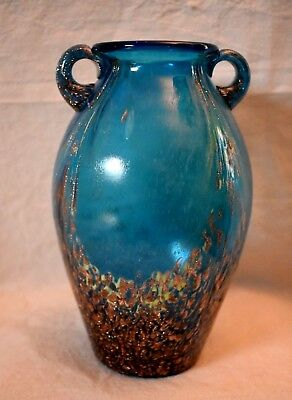 Handblown Art Glass 2 Handle Jug Vase Opaque Blue with Gold Flakes 7.5 in. tall