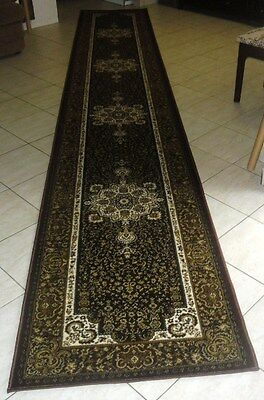 New Extra Long Brown Persian Design Heatset Floor Hallway Runner Rug 80X500Cm