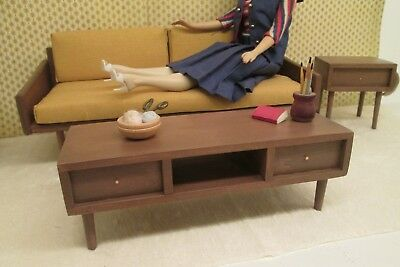mid century modern style table furniture for your Vintage Barbie doll house