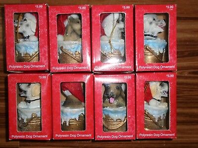 Set of 8 Merry Brite Polyresin Dog Christmas Tree Ornaments - NEW.