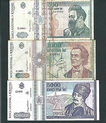 Romania Banknote Lot, 500 1000 5000 Lei (1991-1992-1993 ), Circulated