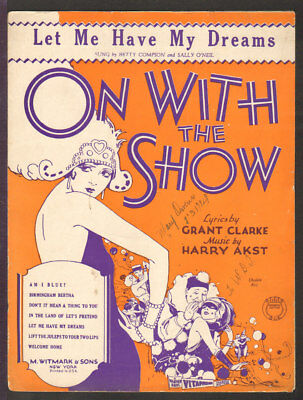 On With The Show 1929 LET ME HAVE MY DREAMS Movie Vintage Sheet Music