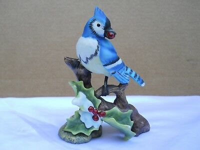 Collectable Ceramic, Beautiful, Blue Jay Holding a Red Holly Berry in His Mouth