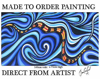 painting Aboriginal inspired Art By Jane Crawford COA Huge sea snake dots