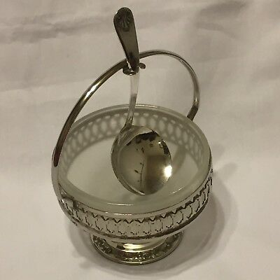 England Silver Plate Sugar Jelly Frosted Glass Spoon Handle Dish