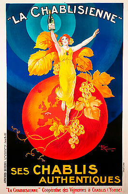 A3 for glass frame  vintage champagne  french print poster chablis