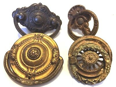 Large lot of 4 Antique Brass Metal Assorted Vintage Drawer Pulls