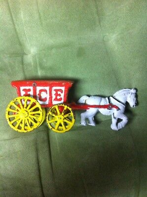 Vintage Cast Iron Horse & ICE wagon