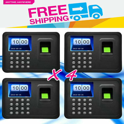 "A6 2.4/""TFT Fingerprint Time Clock Attendance Clock Employee Payroll Recorder LOT"