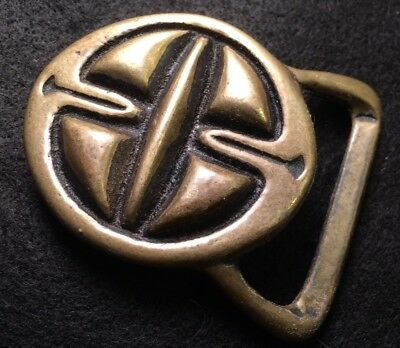 Vtg Rare SOLID BRASS Trinity Or Tech Ether Guild Belt Buckle Hipster Hippy Boho
