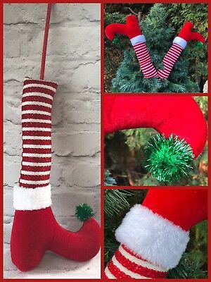 x2 elf leg christmas tree decoration toe bell 50cm each stripe legs pom pom