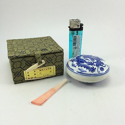 F14 Asian Chinese Blue and white porcelain Dragon pattern Inkpad Case box