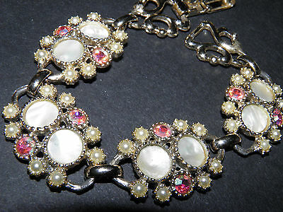 mother of pearl , faux pearl and rhinestone silver tone link bracelet