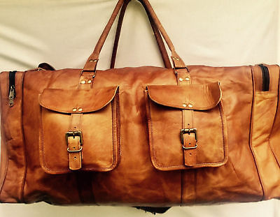 Men's Genuine Leather Cowhide Brown Large Capacity Travel Luggage Duffle Gym Bag