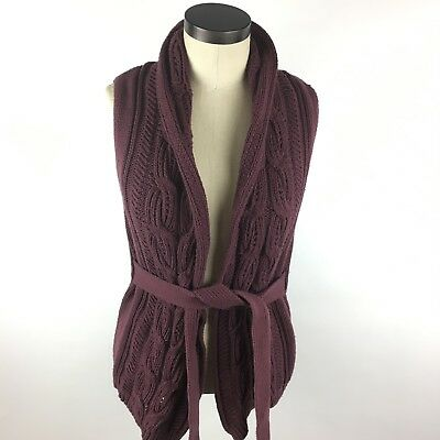 New York and Co Womens Cardigan Vest Size Small Purple Cable Knit Sleeveless  D2
