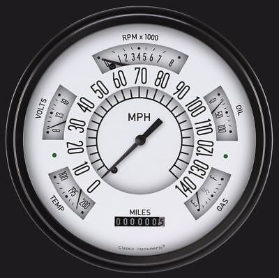 1966-1977 Ford Bronco Direct Fit Gauge White FB66W
