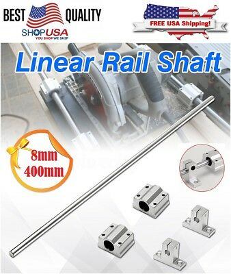 8mm 400mm Linear Shaft Rod Rail Kit W/ Support Bearing Block For 3D Printer CNC