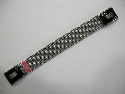 NOS Vintage EVINGER USA Watch Mesh Stretch 18mm Band STAINLESS STEEL Black Ends