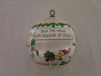 1981 Dated Snoopy Peanuts Deck The Halls Christmas Ornament Silk Vintage Woodst