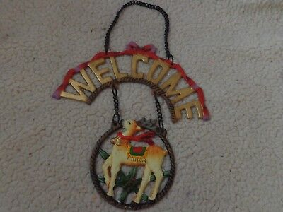 CUTE Holiday Christmas WELCOME Sign WITH CHAIN SANTA,REINDEER,BEAR,CAST IRON