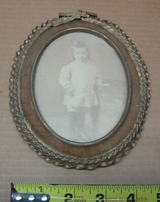 """Antique Ornate Brass? Frame Small Victorian Young Girl Picture Oval 5"""" x 6 1/2"""""""