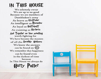 In This House We Do Harry Potter Kids Wall Art Quote Vinyl Decal Kids Bedroom