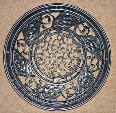 Vintage Cast Iron 3 Piece Ceiling Grate Vent Wall Plate Ideal Stover MFG Co. NOS