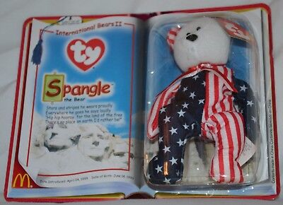 """2000 McDonald's Ty Teenie Beanie Baby """"Spangle"""" the Red, White and Blue Bear"""