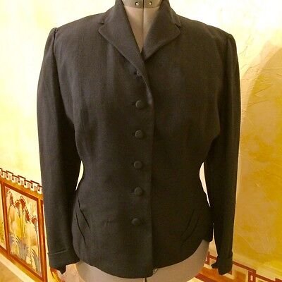 Vintage 40s-50s Pin Up Black Hourglass Blazer Size S-M Gorgeous Detail!
