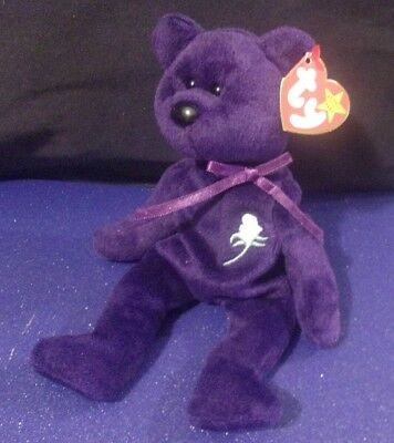 TY Beanie Baby 1997 Princess Diana Bear Purple Retired Collectibles Plush
