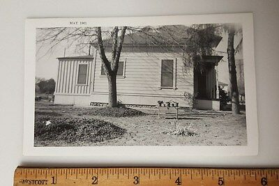 Vintage Photograph B&W c1961 old house garden tree plants
