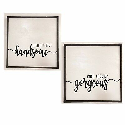 Good Morning Gorgeous both 5x7 Hello There Handsome Bathroom Shimmer Signs