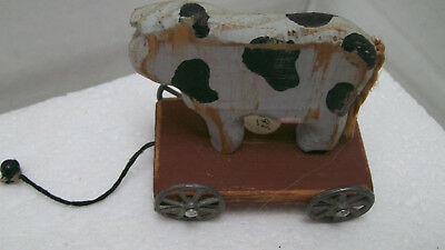 Primitive Rustic Farmhouse Mini Shelf DECOR Holstein Dairy Cow Pull Toy HANDMADE