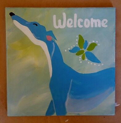 Greyhound Tile - hand painted - Adorable
