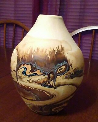 "Nemadji pottery - 8"" tall multicolored vase - excellent condition"