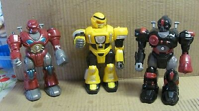 "3 Lot Hap-p-kid Red  7"" Robot Transformer Robot,  Eyes Light Up And It Walks!!"