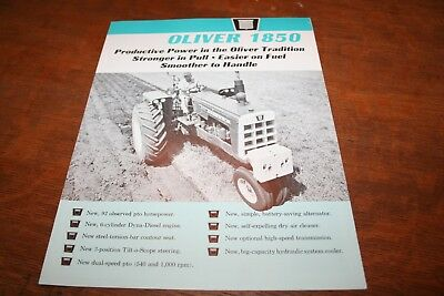 Oliver New 1850 Tractor Brochure 92 PTO HP Row Crow 4WD Wheatland Rice 1964!